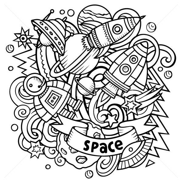 Cartoon vector ruimte illustratie lijn Stockfoto © balabolka