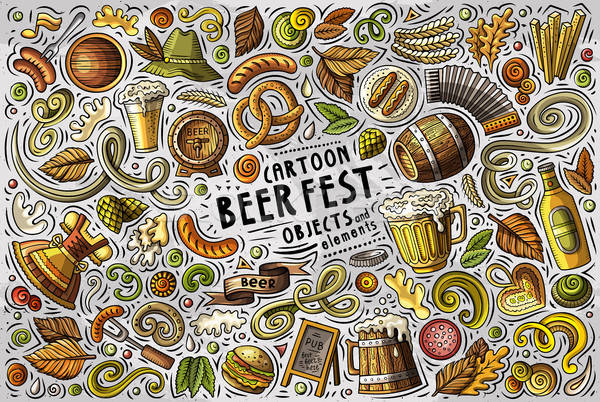 Vector doodle cartoon set of Beer fest objects Stock photo © balabolka