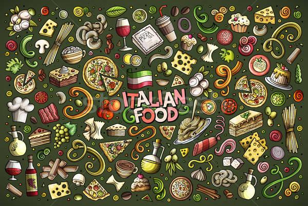 вектора рисованной болван Cartoon набор итальянской кухни Сток-фото © balabolka