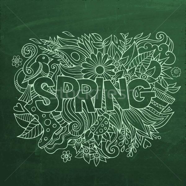 Foto d'archivio: Primavera · mano · scarabocchi · elementi · gesso · bordo