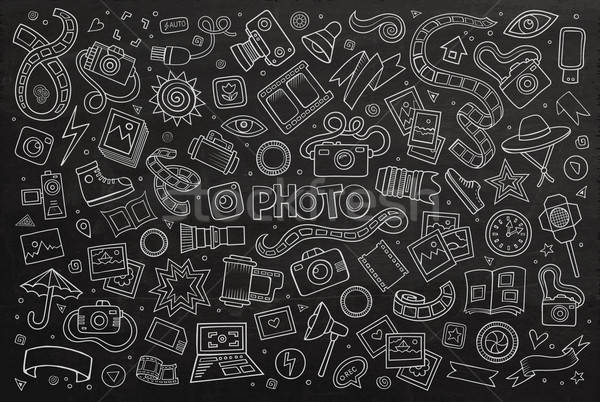 Stock photo: Chalkboard vector hand drawn Doodle cartoon set of objects