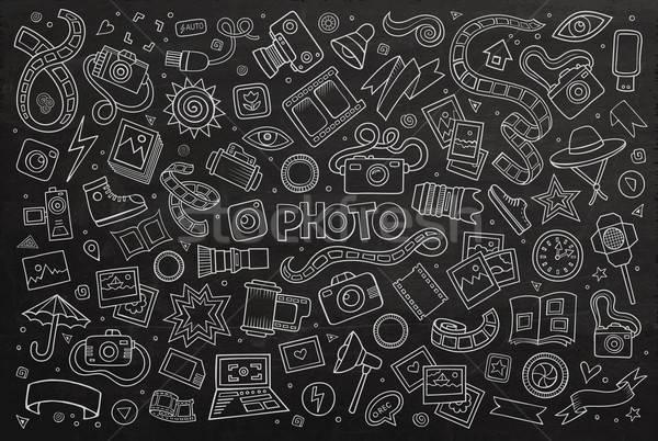 доске вектора рисованной болван Cartoon набор Сток-фото © balabolka