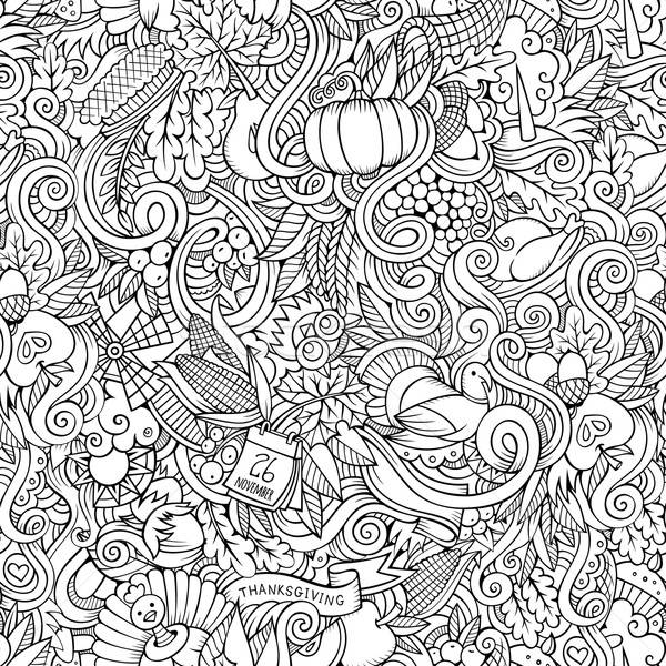 Thanksgiving autumn symbols, food and drinks seamless pattern.  Stock photo © balabolka