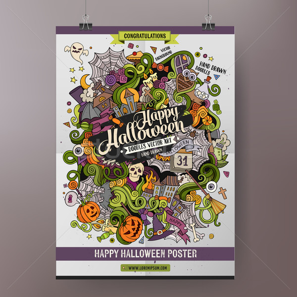 Doodles cartoon colorful Happy Halloween hand drawn illustration Stock photo © balabolka