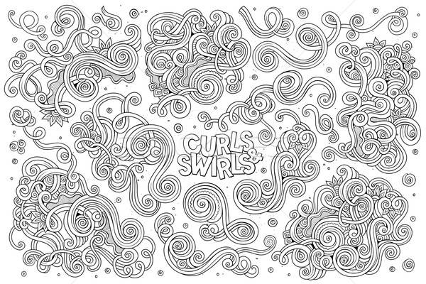 Vektor Hand gezeichnet Doodle Karikatur Set Wirbel Stock foto © balabolka