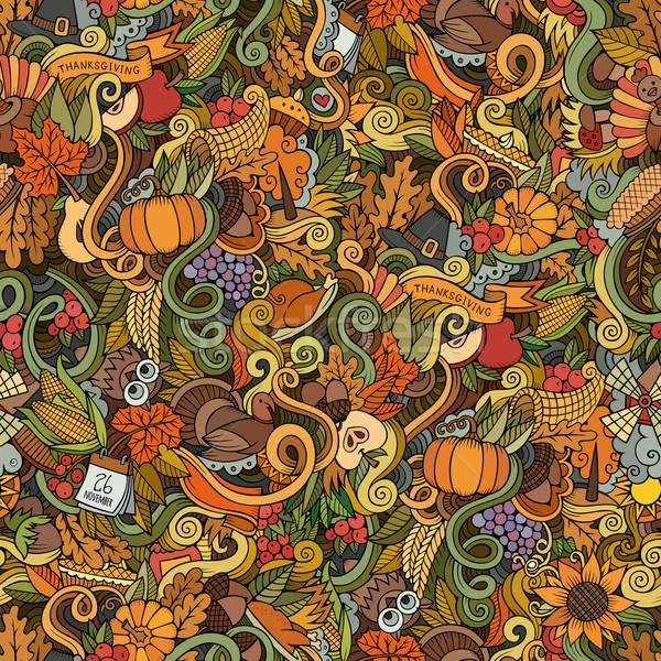 Cartoon vector hand-drawn Doodles on the subject of Thanksgiving Stock photo © balabolka
