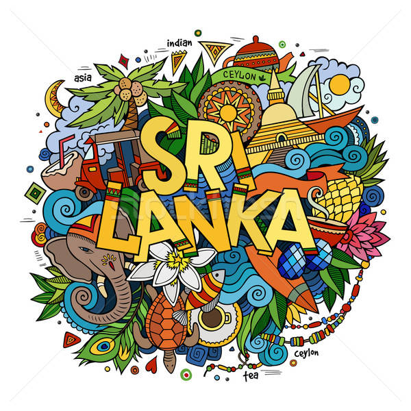Sri Lanka hand lettering and doodles elements Stock photo © balabolka