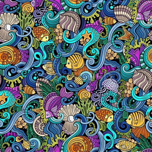Rajz firkák víz élet végtelen minta színes Stock fotó © balabolka