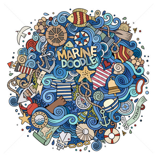 Photo stock: Cartoon · nautique · marines · illustration · coloré