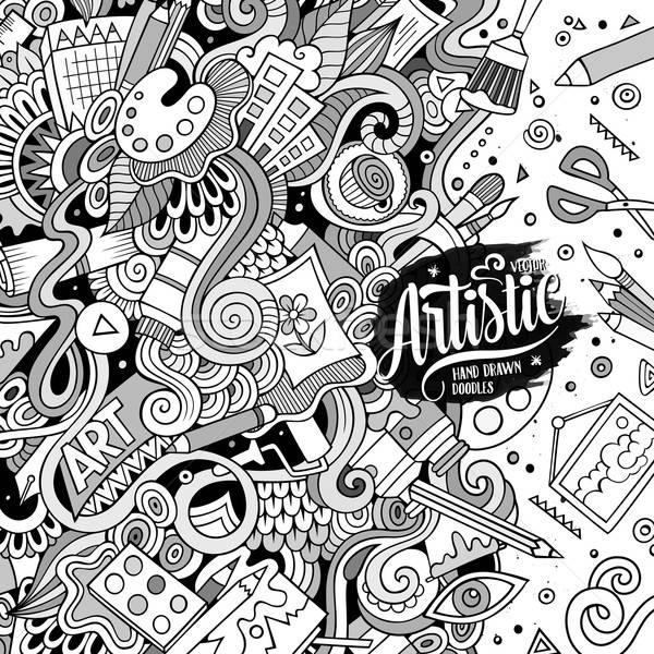 Cartoon cute Art doodles hand drawn frame Stock photo © balabolka