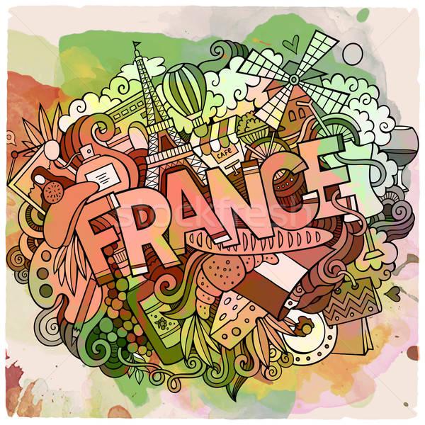 Cartoon vector doodle Frankrijk illustratie Stockfoto © balabolka