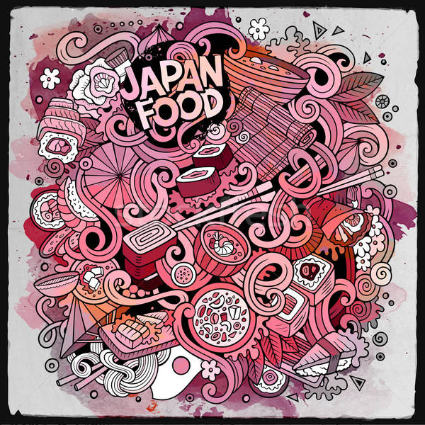 Cartoon hand-drawn doodles Japan food illustration. Stock photo © balabolka