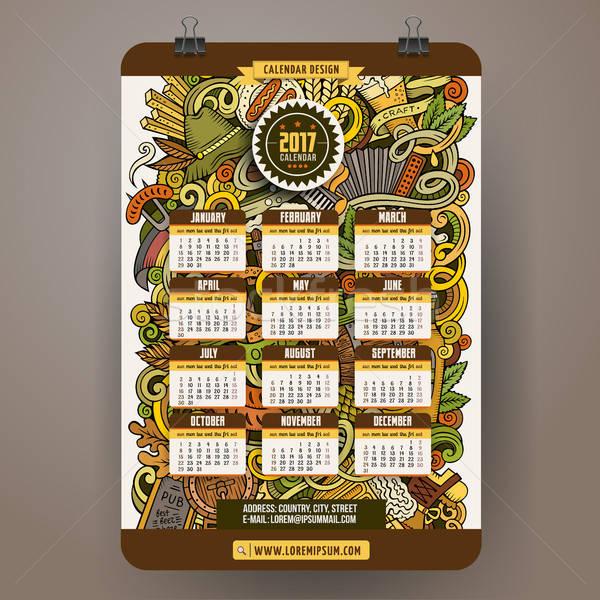 Cartoon colorful hand drawn doodles Octoberfest 2017 year calendar template Stock photo © balabolka