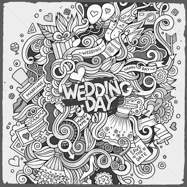 Cartoon cute bazgroły ślub ilustracja Zdjęcia stock © balabolka