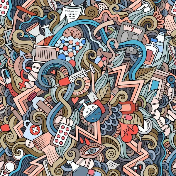 Stock photo: Cartoon cute doodles hand drawn Medical seamless pattern