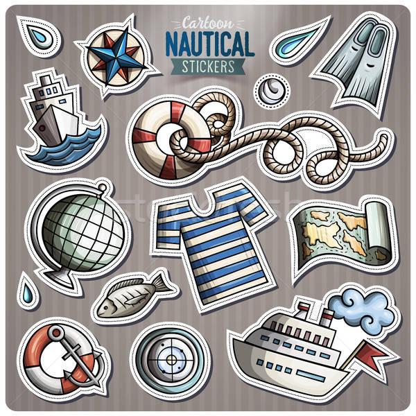 Szett tengerészeti vektor rajz matricák kézzel rajzolt Stock fotó © balabolka