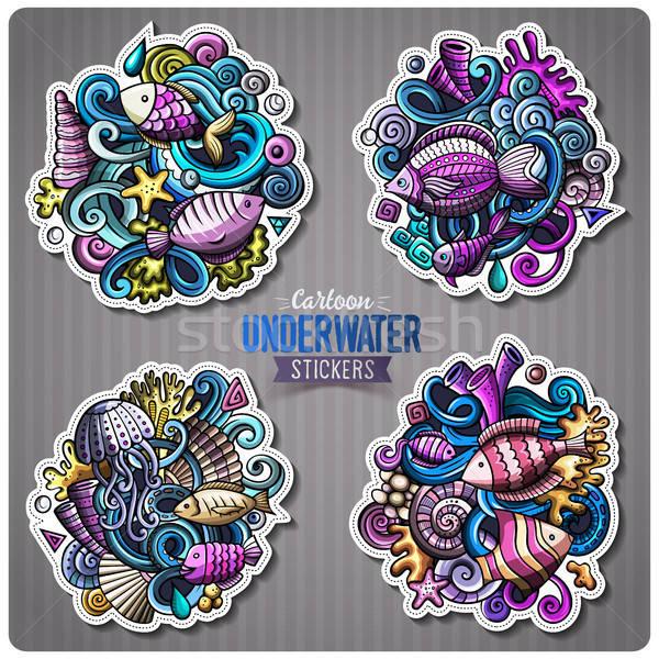 Set subacquea vita cartoon vettore Foto d'archivio © balabolka