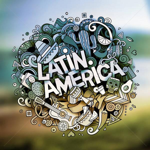 Cartoon vector hand drawn Doodle Latin America word illustration Stock photo © balabolka