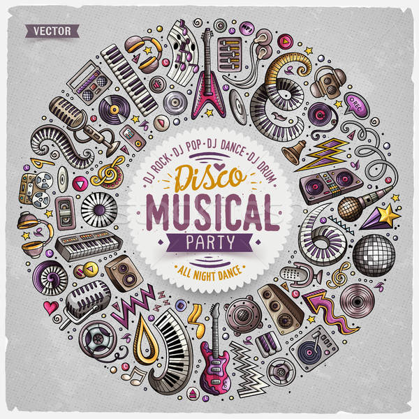 Set of vector cartoon doodle musical objects collected in a round border Stock photo © balabolka