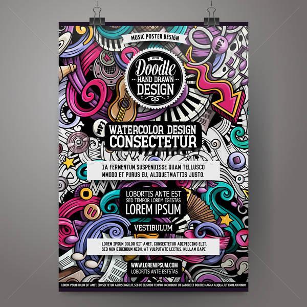 Cartoon hand drawn doodles Music poster design Stock photo © balabolka