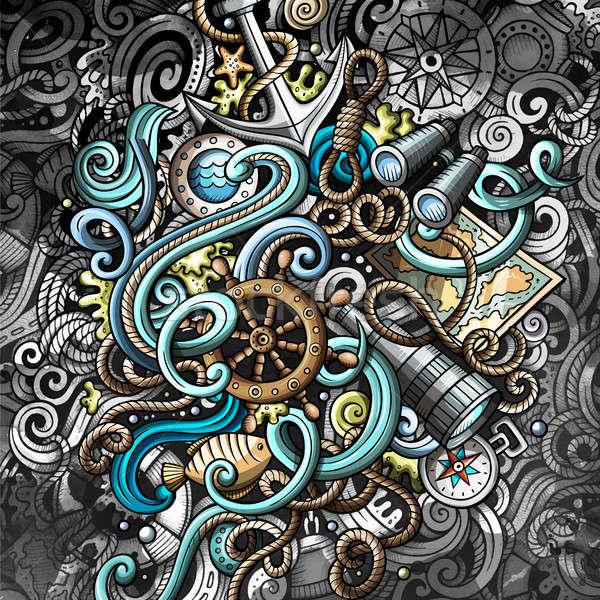 Firkák tengerészeti illusztráció kreatív tengeri grunge Stock fotó © balabolka