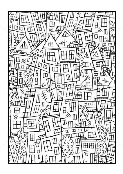 Vektor Zeichnung Kontur Stadt abstrakten Hand gezeichnet Stock foto © balabolka