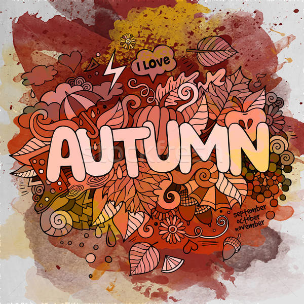 Autumn season hand lettering and doodles elements and symbols em Stock photo © balabolka