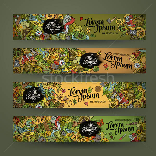 banner templates set with doodles camping theme Stock photo © balabolka