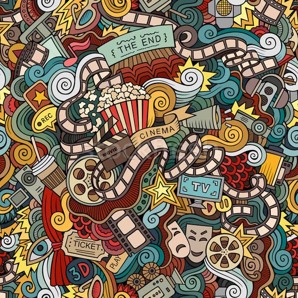 Rajz firkák mozi végtelen minta kézzel rajzolt film Stock fotó © balabolka