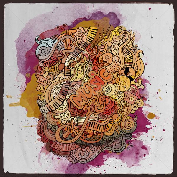 Vector doodles musical art paint background Stock photo © balabolka