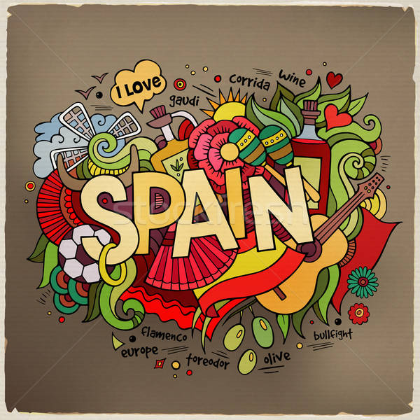 Spain hand lettering and doodles elements background Stock photo © balabolka