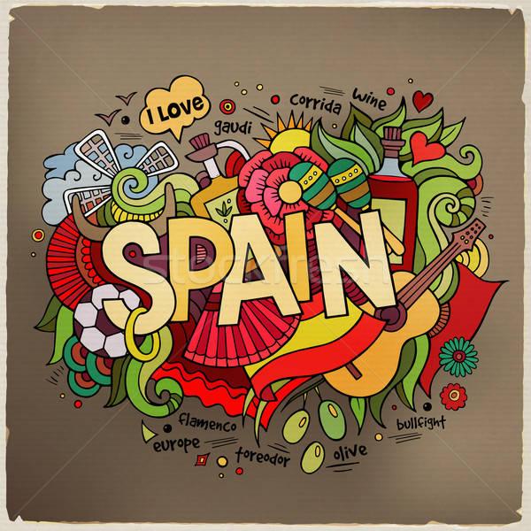 İspanya el karalamalar elemanları vektör hasta Stok fotoğraf © balabolka
