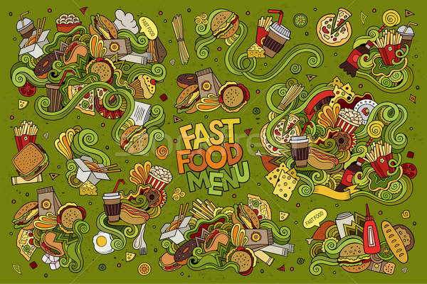 Fast food doodles hand drawn vector symbols  Stock photo © balabolka