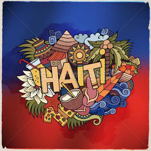 Haiti el karalamalar elemanları semboller amblem Stok fotoğraf © balabolka