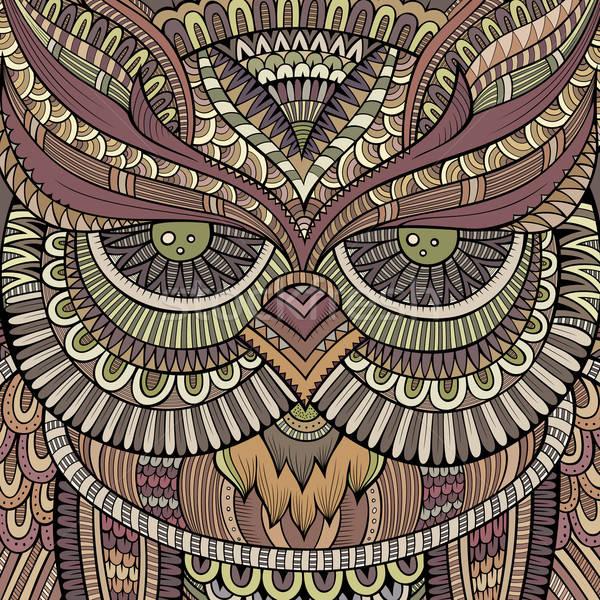 Stockfoto: Decoratief · uil · abstract · hoofd · ogen