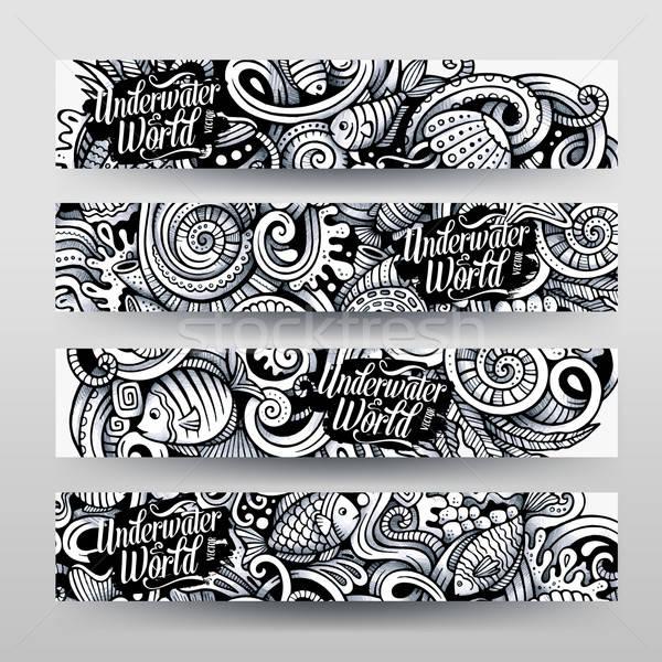 Cartoon hand drawn under water life doodles art Stock photo © balabolka