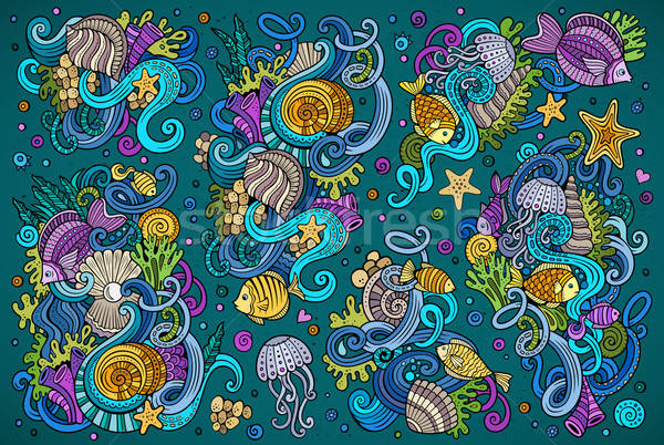 Colorful set of marine life objects Stock photo © balabolka
