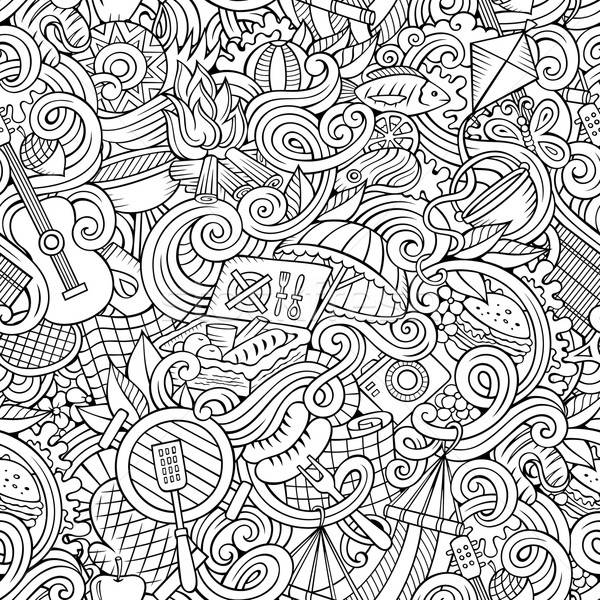 Stock photo: Cartoon hand-drawn picnic doodles seamless pattern