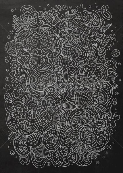 Karikatür karalamalar sualtı hayat örnek kara tahta Stok fotoğraf © balabolka