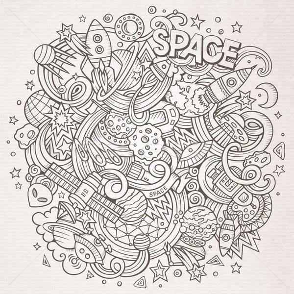 Cartoon ruimte illustratie lijn kunst Stockfoto © balabolka
