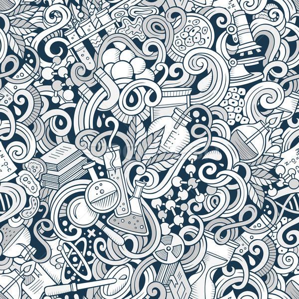 Rajz tudomány firkák végtelen minta vonal művészet Stock fotó © balabolka