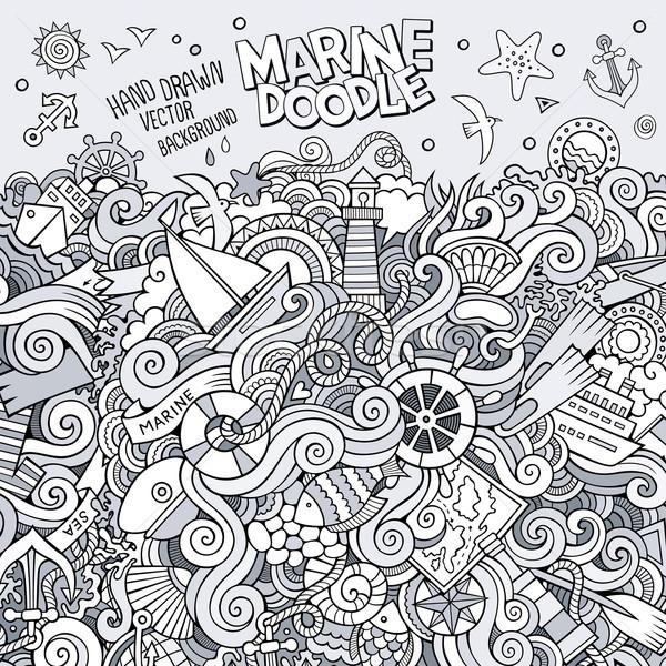 Rajz firkák tengerészeti tengeri illusztráció vázlatos Stock fotó © balabolka