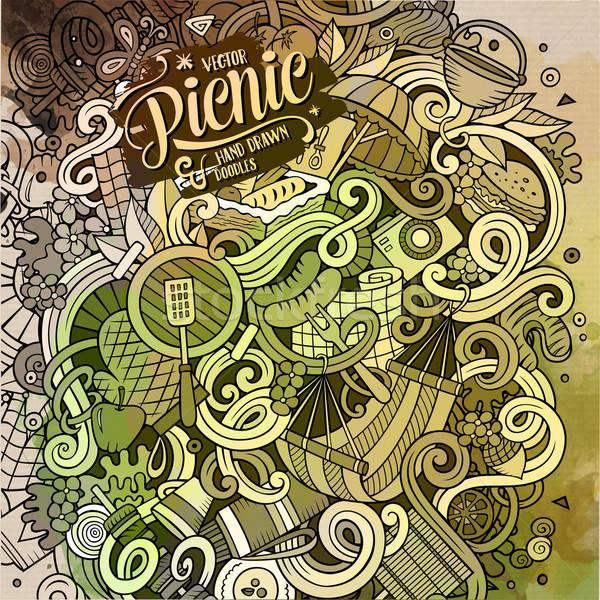 Cartoon doodles hand drawn Picnic illustration Stock photo © balabolka