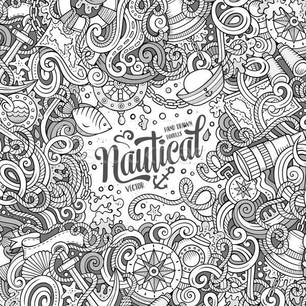 Nautical cartoon vector doodle frame Stock photo © balabolka
