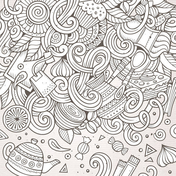 Cartoon hand-drawn doodles of cafe, coffee shop background Stock photo © balabolka