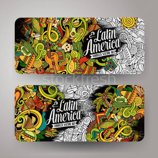 Cartoon hand-drawn doodles Latin American banners Stock photo © balabolka