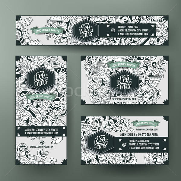 Corporate Identity with doodles electric cars theme Stock photo © balabolka