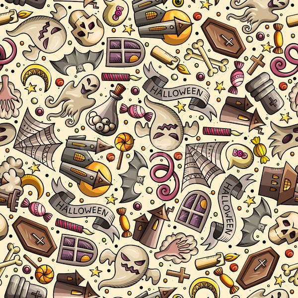 Stock photo: Cartoon cute hand drawn Halloween seamless pattern