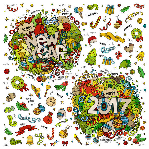 Set of 2017 and New Year hand lettering and doodles elements Stock photo © balabolka