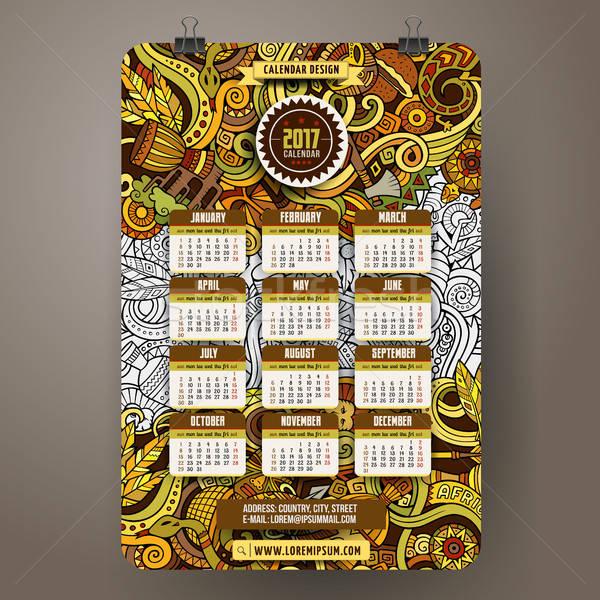Cartoon afrika jaar kalender sjabloon Stockfoto © balabolka